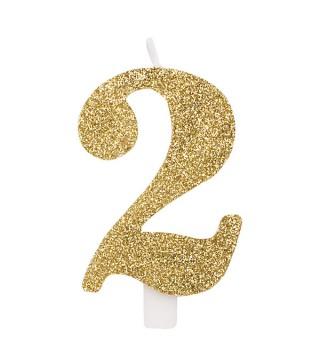 Свічка цифра 2 золоті блискітки