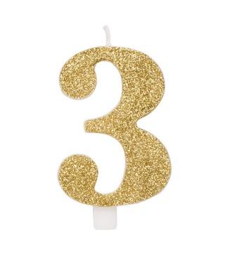 Свічка цифра 3 золоті блискітки