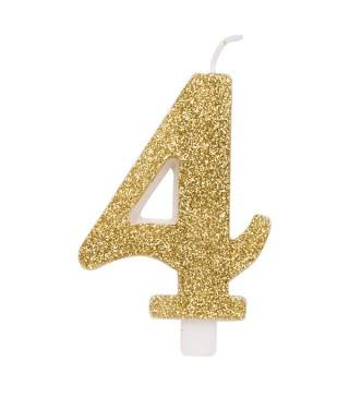 Свеча цифра 4 золотые блестки
