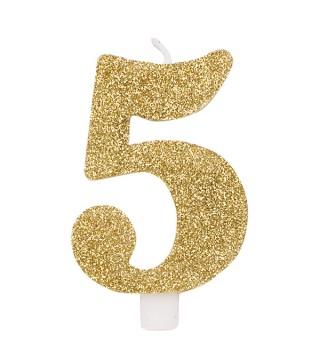 Свічка цифра 5 золоті блискітки