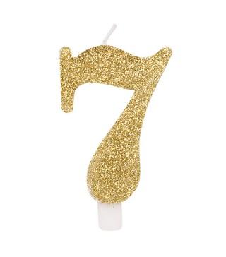 Свічка цифра 7 золоті блискітки