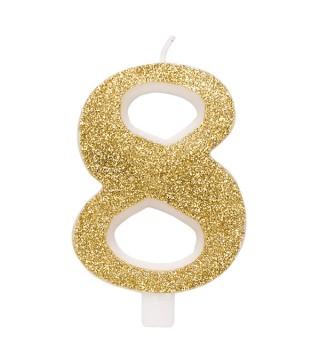Свеча цифра 8 золотые блестки