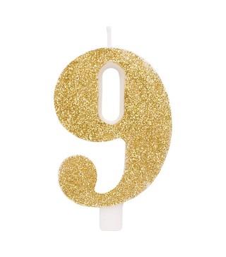 Свічка цифра 9 золоті блискітки
