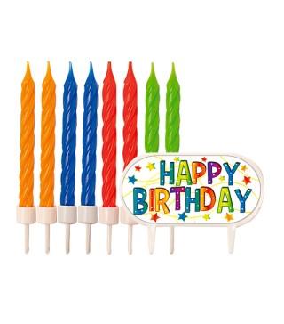 Свічки кольорові Happy Birthday
