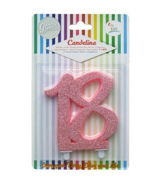 Свеча цифра 18 розовая с блестками