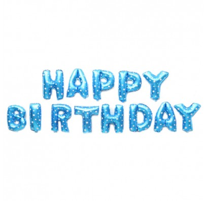 Шарики-буквы Happy Birthday голубые