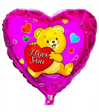 Кулька серце I Love You ведмедик