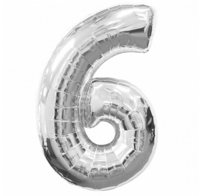 Шарик цифра 6 (86см) silver