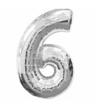 Кулька цифра 6 (86см) silver