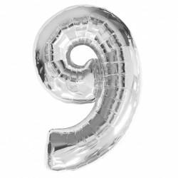Кулька цифра 9 (86см) silver