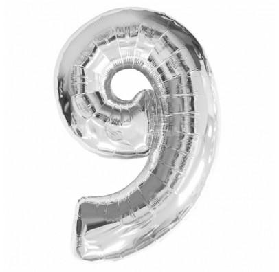 Шарик цифра 9 (86см) silver