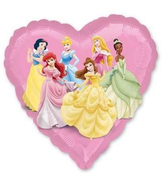 Шарик фольгированный сердце с Принцессами