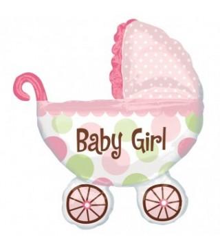 Шарик фольгированный фигурный Коляска детская розовая
