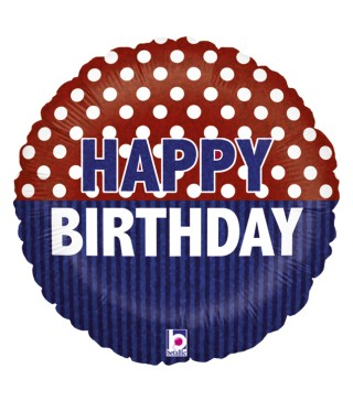 Кулька кругла синьо-червона Happy Birthday