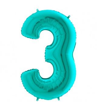 Шарик-цифра 3 бирюза