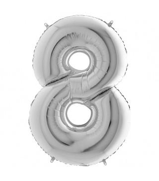 Шарик-цифра 8 серебро
