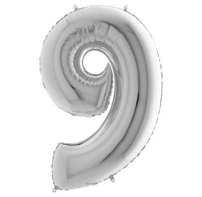 Шарик-цифра 9 серебро