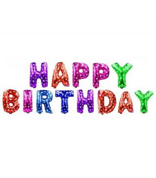 Кульки-літери Happy Birthday в сердечка