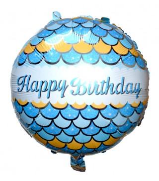 Кулька Happy Birthday луски блакитні