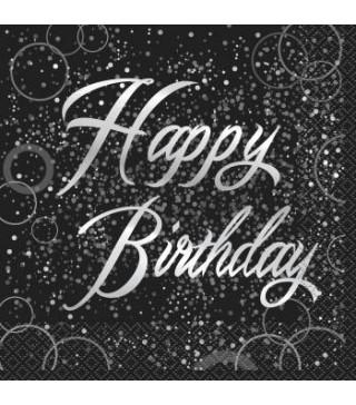 Серветки Happy Birthday чорні 16 шт/уп.