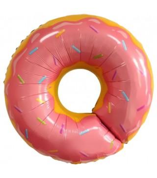 Шарик фольгированый фигурный Пончик розовый