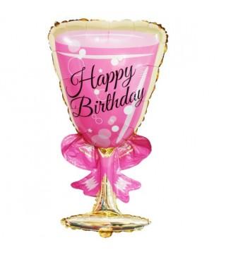 Кулька фігурна Бокал Happy Birthday