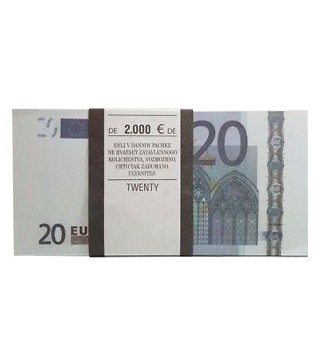 Пачка євро сувенірна. Номінал - 20 €