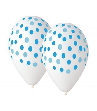 Набір кульок Білі в голубий горошок