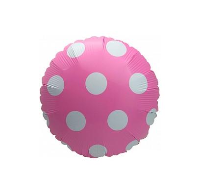 Шарик фольгированный горох розовый