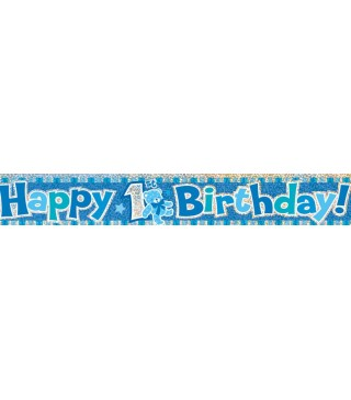 Банер Happy Birthday голубий
