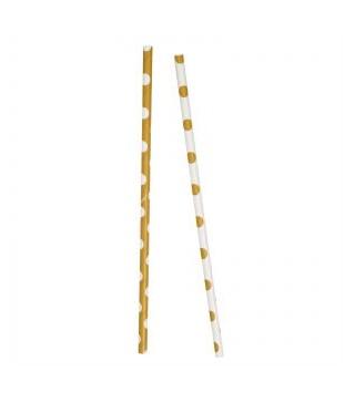 Трубочки для коктейля Бело-золотые в горошек 10шт/уп