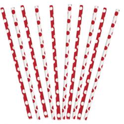 Трубочки для коктелю біло-рожеві в горошок 10 шт/уп. 62082 Unigue