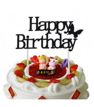 Топер паперовий Happy birthday чорний