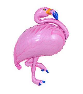 Кулька фольгована фігурна Фламінго рожева
