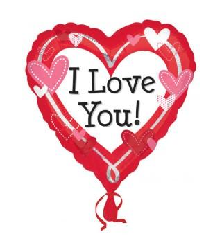 Шарик фольгированная с рисунком I love you