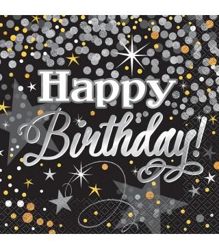 """Серветки """" Happy birthday """" чорні 16 шт/уп. 82723 Unigue"""