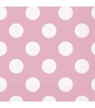 Серветки Рожеві в білий горох 16 шт/уп