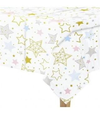 Скатертина Біла в кольорові зірки