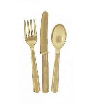 Набор столовых приборов золото 18 шт