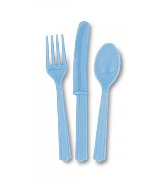 Набор вилки, ложки, ножи (голубые)