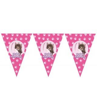 Гирлянда-флажки Happy Birthday Котик розовая