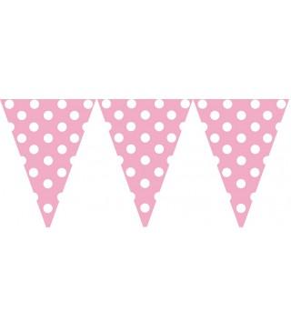 Гирлянда-флажки розовые в горох