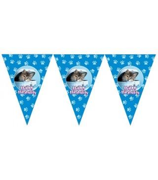 Гирлянда-флажки Happy Birthday Котик голубая