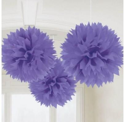 Помпоны фиолетовые 3шт/уп,40.6см