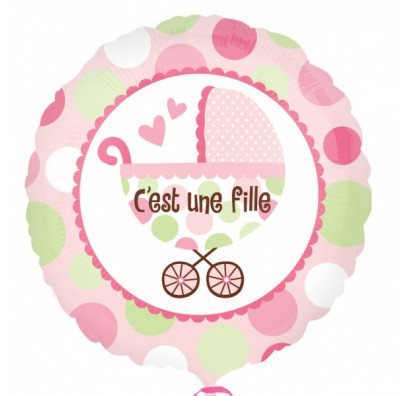 Шарик фольгированный с коляской розовый