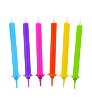 Свечи разноцветные с подставками 12шт/уп