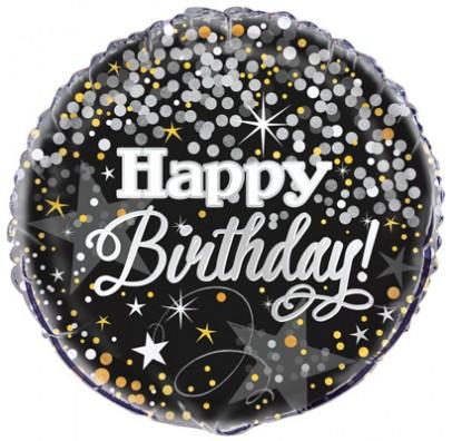 Кулька Happy Birthday чорна