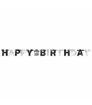 "Гірлянда ""Happy Birthday"" 2,13м чорно-сіра 120252 Amscan"