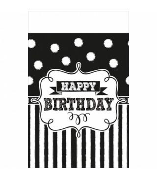 """Скатертина """" Happy birthday"""" чорно-біла 1,37*259м 571671 Unigue"""