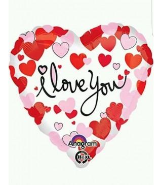 Кулька фольгована сердечко I love you